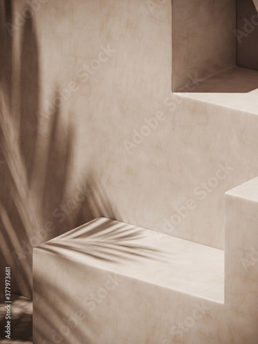 Obraz Minimal cosmetic background for product presentation. Sunshade shadow on beige plaster wall. 3d render illustration.  - fototapety do salonu
