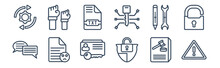 12 Pack Of Icons. Thin Outline Icons Such As Alert, Protection, Complaint, Rectification, Text File, Rights For Web And Mobile Apps, Logo