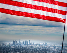 US Flag With Los Angeles On Th...