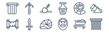 12 Pack Of Icons. Thin Outline Icons Such As Pillars, Face, Sword, Fossil, Archaeological, Pick For Web And Mobile Apps, Logo