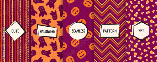 Fototapeta Halloween seamless patterns collection. Vector set of stylish background swatches with modern minimal labels. Cute abstract textures for kids. Design with pumpkins, ghosts, candy corn, chevron, stripe obraz