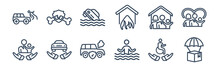 12 Pack Of Icons. Thin Outline Icons Such As Delivery Insurance, Drown, Excessive Weight For The Vehicle, Family House, Flood Risk, Fracture For Web And Mobile Apps, Logo