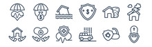 12 Pack Of Icons. Thin Outline Icons Such As Funeral, Hail On The Car, Heart Insurance, Insurance For Home Of Tornado, Inundation, Investment Insurance For Web And Mobile Apps, Logo
