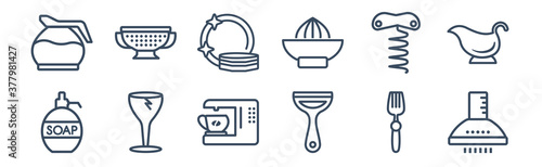 12 pack of icons. thin outline icons such as extractor hood, peeler, glass, corkscrew, dishes, strainer for web and mobile apps, logo