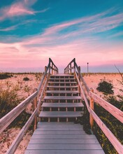Wooden Steps During Sunset At ...