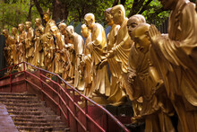 Statue Of Buddha. 10000 Buddhas Temple In The Hong Kong Mountains