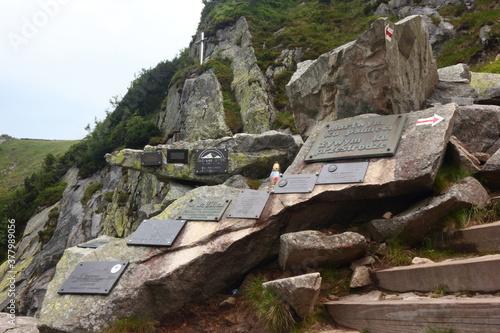 Memorial plaques on the Sniezka Mountain