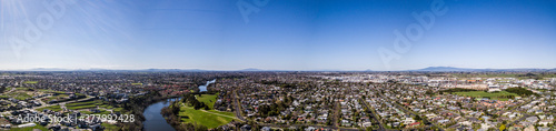 Aerial panoramic view of the Waikato River looking towards Hamilton West in Hami Canvas Print