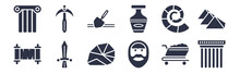 12 Pack Of Black Filled Icons. Glyph Icons Such As Pillars, Face, Sword, Fossil, Vase, Archaeological, Pick For Web And Mobile Apps, Logo