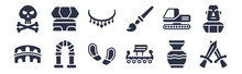 12 Pack Of Black Filled Icons. Glyph Icons Such As Swords, Viking Ship, Ancient, Digger, Brushes, Bracelet, Sphinx For Web And Mobile Apps, Logo