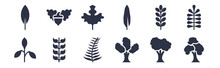 12 Pack Of Black Filled Icons. Glyph Icons Such As Pin Cherry Tree, Eastern Cottonwood Tree, Bilberry Leaf, Briar Leaf, Willow Leaf, Gooseberry Nut For Web And Mobile Apps, Logo