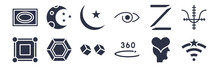 12 Pack Of Black Filled Icons. Glyph Icons Such As Favorite Wireles Conecction, 360, Poligon, Z, Jackal, Islamic Moon, Half Moon And Star For Web And Mobile Apps, Logo