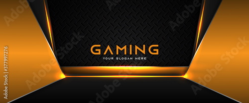 Futuristic orange and black abstract gaming banner design with metal technology concept Fototapeta