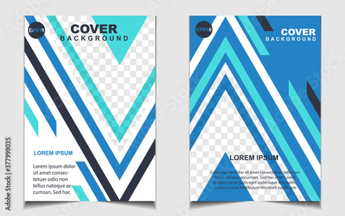 Fototapeta Modern blue and white a4 brochure cover design background template for business and corporate. Layout space for photo. Vector graphic can use company profile, flyer, presentation, advertising, banner obraz
