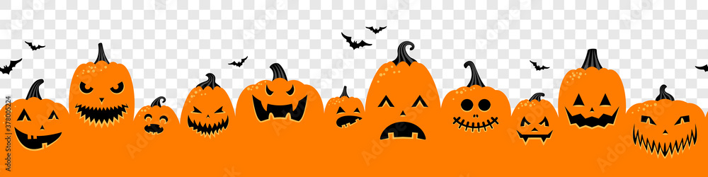 Fototapeta Halloween pumpkins orange banner isolated on transparent background illustration