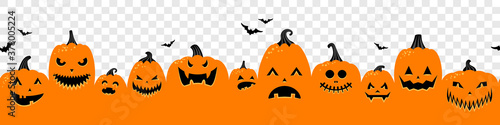 Halloween pumpkins orange banner isolated on transparent background illustration - 378005224
