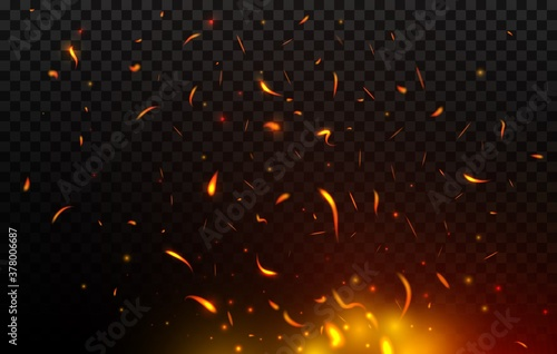 Tablou Canvas Bonfire sparks flying up, vector fire, burning glowing red and orange particles