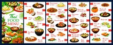 Thailand Restaurant Meals Menu Design Vector Template. Thai Cuisine Food With Chicken, Fish And Shrimps, Dishes With Coconut And Rise, Curry, Soup And Noodles, Baked Vegetables And Fruit Ice Cream