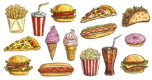 Sketch Fast Food Meals Isolated Vector Icons Ice Cream In Waffle Cone, Soda Drink With Ice Cubes And Burger With French Fries. Takeaway Donut, Pizza And Hot Dog With Taco Engraving Retro Signs Set