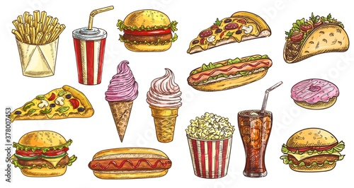 Fotografia Sketch fast food meals isolated vector icons ice cream in waffle cone, soda drink with ice cubes and burger with french fries