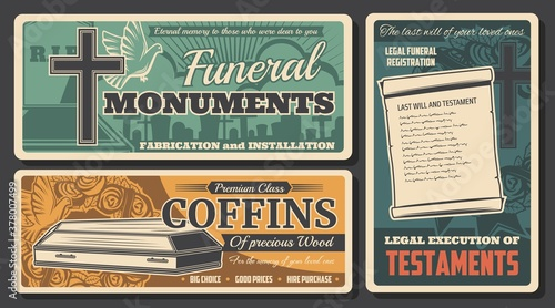 Fototapeta Funeral service, burial coffins and RIP monuments, death farewell ceremony agency, vector posters
