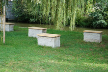 Few Concrete Benches Beside A ...