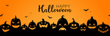 Halloween Pumpkins Black Silhouette Banner Background Illustration