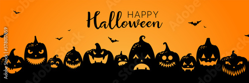 Obraz Halloween pumpkins black silhouette banner background illustration - fototapety do salonu