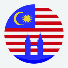 Flag Of Malaysia As Round Flat Icon.