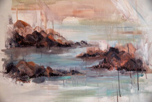 Modern Art. Closeup View Of Romantic Painting Depicting A Coastal Landscape. The Rocks, Ocean And Waves With Beautiful Brushstrokes Texture And Color Combination.
