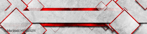 Obraz Hi-tech red glossy grunge geometric banner with squares. Abstract tech vector background - fototapety do salonu