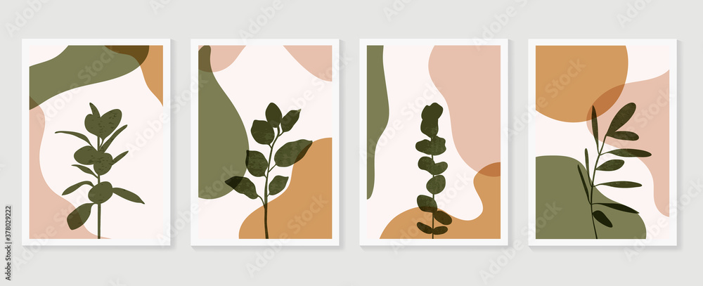 Fototapeta Abstract Geometric shapes vector collection. Abstract organic shape background design for wedding invitation, clipart, print, cover, wallpaper, Wall art, Mid century modern art. Vector illustration..