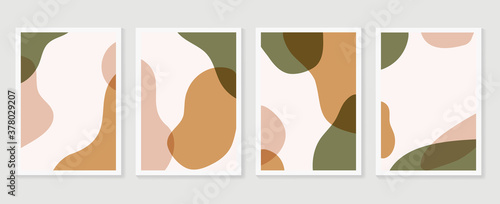 Obraz Abstract Geometric shapes vector collection. Abstract organic shape background design for wedding invitation, clipart, print, cover, wallpaper, Wall art, Mid century modern art. Vector illustration.. - fototapety do salonu