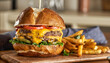 canvas print picture double cheeseburger with american cheese and fries on pretzel  bun