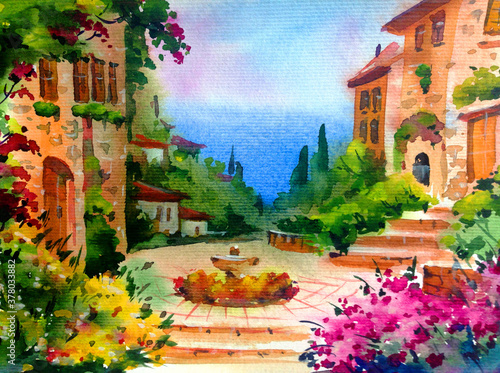 Fototapety, obrazy: Watercolor colorful bright textured abstract background handmade . Mediterranean landscape . Painting of architecture and vegetation of the sea coast , made in the technique of watercolors from nature
