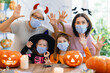 canvas print picture - family celebrating Halloween