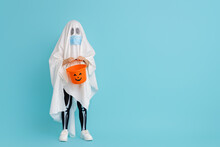 Kid In Ghost Costume Wearing Face Mask