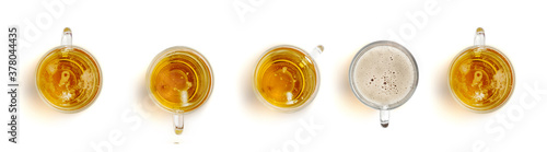 5 Glasses of Beer Top View Isolated on White Wallpaper Mural
