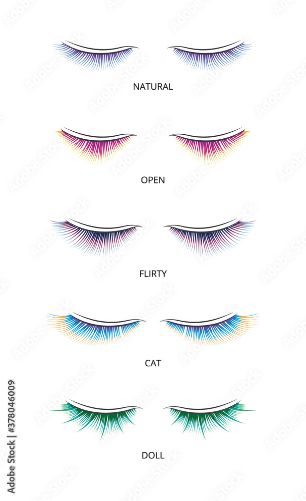 Banner with shapes of false eyelashes for extension vector illustration isolated.
