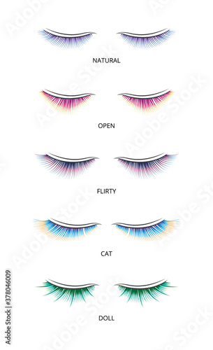 Fotografía Banner with shapes of false eyelashes for extension vector illustration isolated