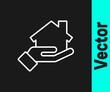 White line Realtor icon isolated on black background. Buying house. Vector Illustration.