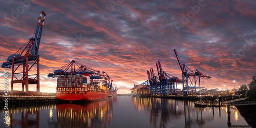 Conatiner Hafen Hamburg bei Sonnenuntergang Canvas Print
