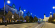 canvas print picture - Nightlife of illuminated central Debrecen streets with Great Protestant Church, Hungary