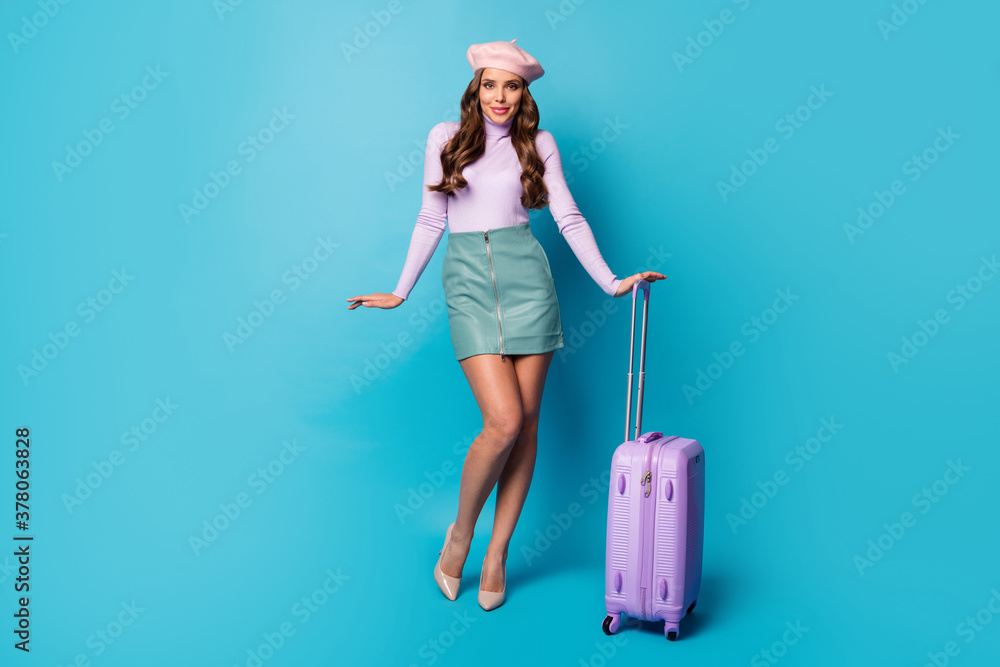 Fototapeta Full length body size view of her she nice-looking attractive lovely pretty slim fit cheerful wavy-haired girl carrying bag departure isolated on bright vivid shine vibrant blue color background