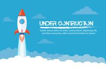 Blue Background Rocket Under Contruction