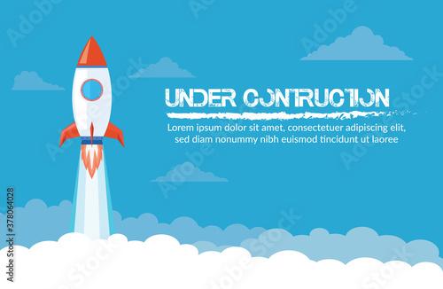 Photo Blue Background rocket under contruction