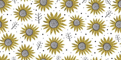Panel Szklany Podświetlane Skandynawski Hand drawn of abstract floral pattern. Seamless abstract floral pattern. Abstract sun flower pattern isolated on white background.