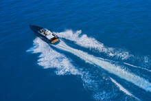 High-speed Yacht Of Blue Color...