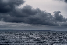 Dark Stormy Sea And Dramatic C...