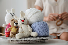 Crocheted Toys And Clews On Ta...